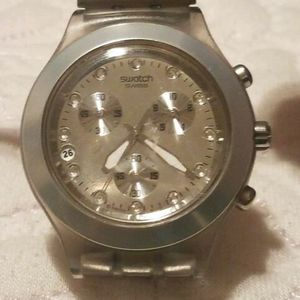 Watch Swatch Diaphane Silver Blooded Irony Full Chronograph Unisex eWHIE9D2Yb